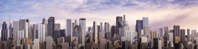 Canvas print Day city panorama / 3D render of daytime modern city under bright sky