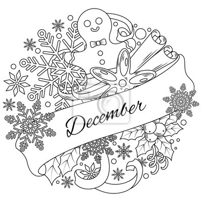 December. The circular arrangement of elements associated with winter. Coloring. The banner winter season. Frame vector illustration.