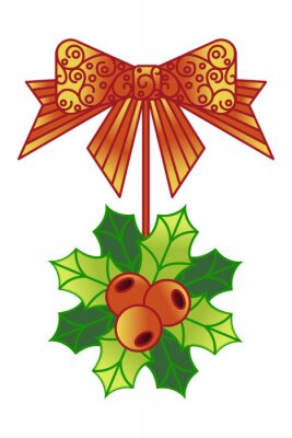Decoration on the door of Holly. Vector