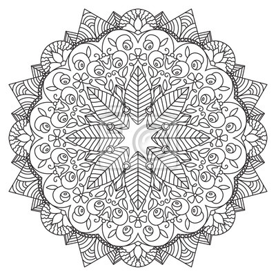Decorative circular ornament with leaves, berries and flowers