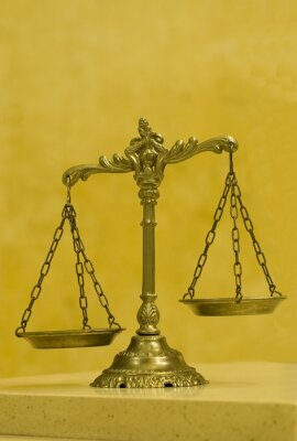 Canvas print Decorative Scales of Justice in the Courtroom