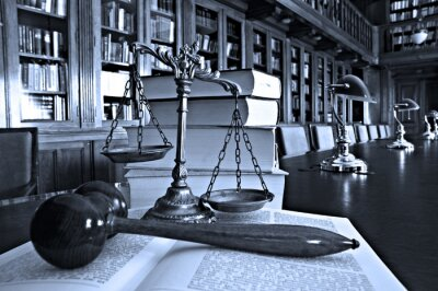Canvas print Decorative Scales of Justice in the library