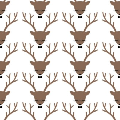 Canvas print Deer head silhouette seamless pattern. Animal head texture. Cute sleeping deer with bow background for winter holidays.