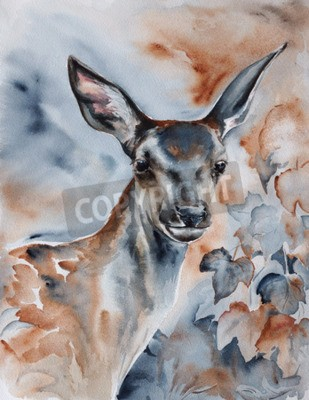 Canvas print deer in the forest - watercolor wildlife painting with detailed paper texture