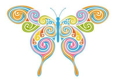 Canvas print Dekoratives Vektor Element - bunter, abstrakter Schmetterling mit Spiral Muster. Design Vorlage für Grußkarten und Hintergründe. Frühling, frische Farben.