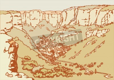 Design of the  Bakhchysarai city in the mountains. Sketch, hand drawn with ink. Engraved retro style, effect of sepia