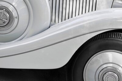 Canvas print Detail of an old car bodywork