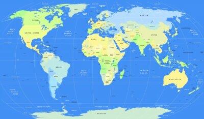 Canvas print Detailed vector political World Map