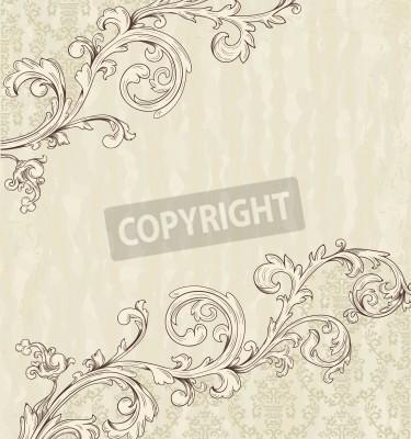 Canvas print Detailed vintage card with damask wallpaper on beige grunge background