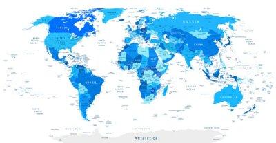 Canvas print Detailed World Map Blue