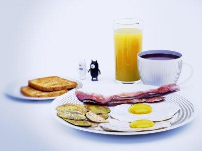 Canvas print diavoli alieni a colazione rendering 3d