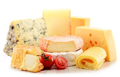 Canvas print Different sorts of cheese isolated on white background