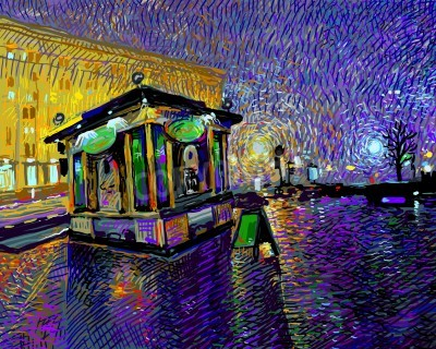 Canvas print digital art  painting of night Kyiv city, vector illustration