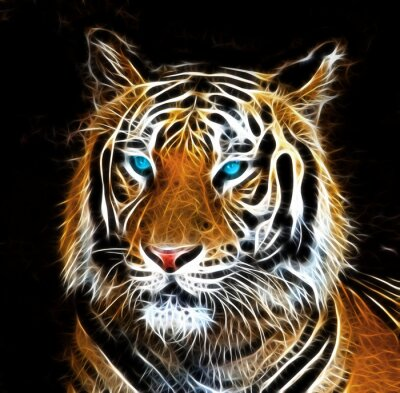 Canvas print Digital drawing of a tiger