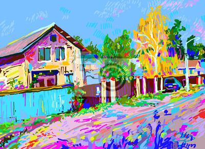 digital painting of autumn rural landscape with hut