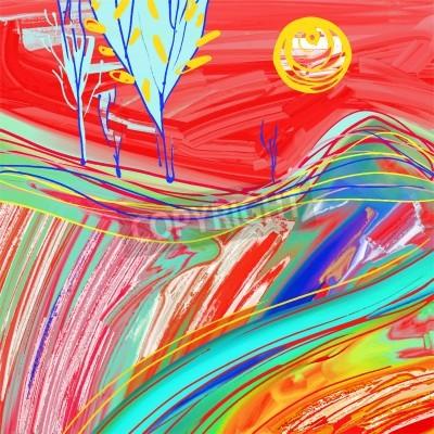 Canvas print digital painting of red sunset landscape, creative artwork inspiration, modern impressionism, vector illustration