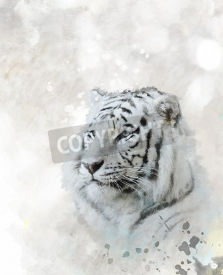 Canvas print Digital Painting Of White Tiger Head