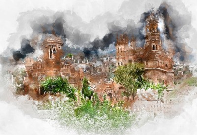 Canvas print Digital watercolor painting of a Colomares Castle. Castle dedicated to the explorer and navigator Christopher Columbus. Benalmadena town. Province of Malaga. Andalusia. Spain