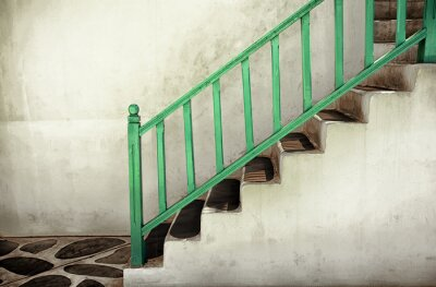 Canvas print Dirty stairs with handrails