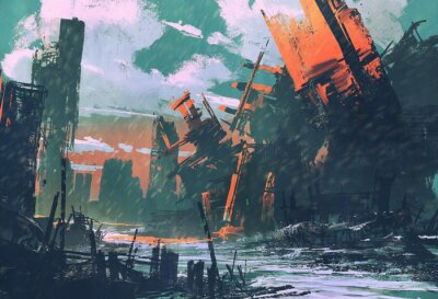 Canvas print disaster city,apocalyptic scenery,illustration painting