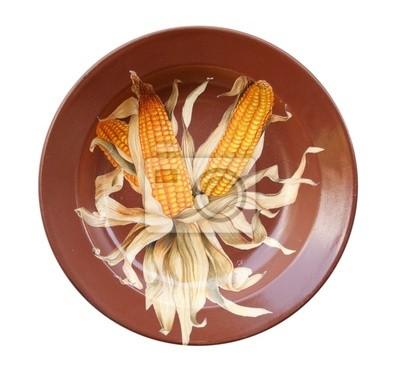 Dish with corn on the cob, decoupage