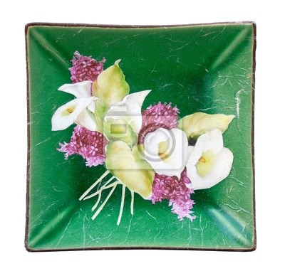 Dish with flowers, decoupage