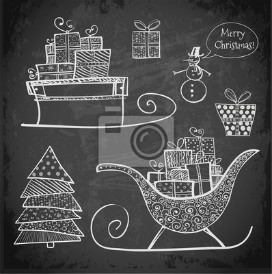 Canvas print Doodle sketch Christmas objects on blackboard.