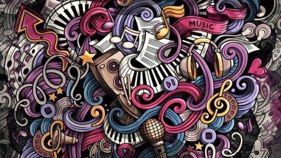 Canvas print Doodles Music illustration. Creative musical background