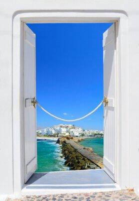 Canvas print Door into beauty of Greece - Naxos chora
