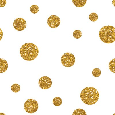 Canvas print Dots seamless pattern with golden glitter texture.