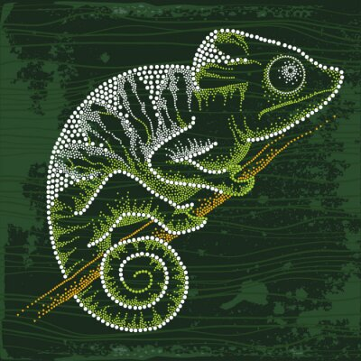 Canvas print Dotted Chameleon sitting on the branch