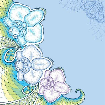Canvas print Dotted moth Orchid or Phalaenopsis with decorative lace in pastel colors on the blue background. Floral elements in dotwork style.