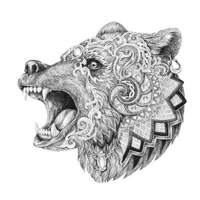 Canvas print Dotwork, tattoo, head enraged bear