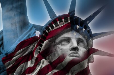 Canvas print Double exposure image of the Statue of Liberty and the American flag