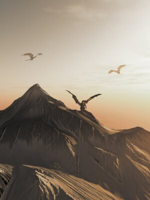 Canvas print Dragon Peak at Sunset, fantasy illustration