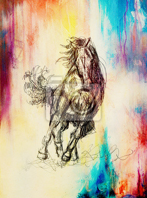 Canvas print Draw pencil horse on old paper, vintage paper and old structure with color spots.