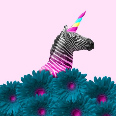 Canvas print Dreaming about being better. An alternative zebra like a unicorn in blue flowers on pink background. Negative space. Modern design. Contemporary art. Creative conceptual and colorful collage.