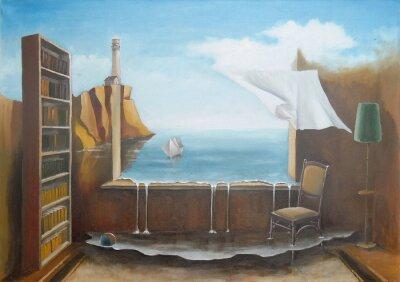 Canvas print DreamsFantastic interior with an open window.
