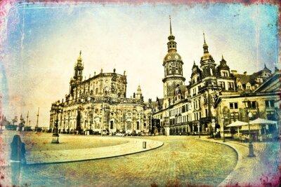 Canvas print Dresden vintage illustration
