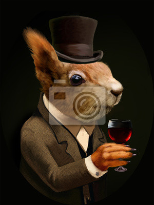 Canvas print Dressed Squirrel With Glass of Wine And Top Hat