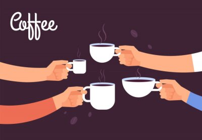 Canvas print Drinking coffee concept. Friends drink coffee for breakfast. Break in office with espresso vector concept. Illustration of coffee drink, cafe breakfast morning with hot espresso