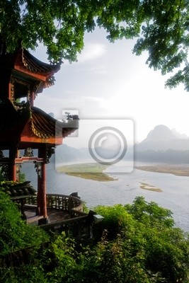 Early morning view over the Li-river, Yangshuo, China