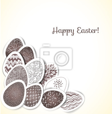 Easter card with ornated eggs. Vector illustration