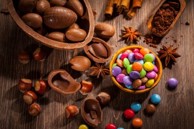 Canvas print Easter chocolate background
