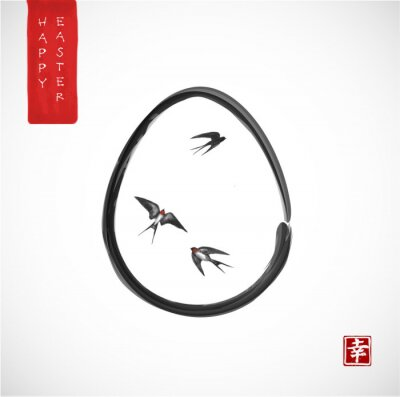 Easter greeting card in japanese style with three swallow birds and easter egg. Traditional Japanese ink wash painting sumi-e. Hieroglyph - happiness