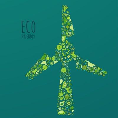 Eco Friendly concept,  wind farm set, vector illustration
