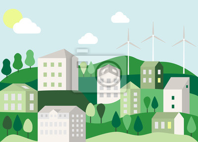 Eco-friendly smart city flat style. Cityscape with green trees, buildings and wind farms. Geometric concept. Clean city without pollution and harmful emissions. Vector stock illustration.