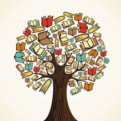 Canvas print Education concept tree with books