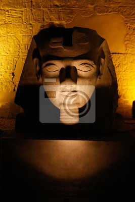 Egyptian sculpture Ramses' colossus head at Luxor temple, Thebes