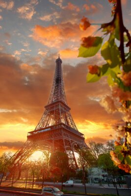 Canvas print Eiffel Tower during beautiful  spring morning in Paris, France